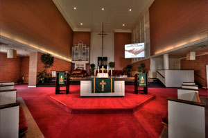HiFi Doc - Church installation of audio visual flying rear projection screen, choir video monitor